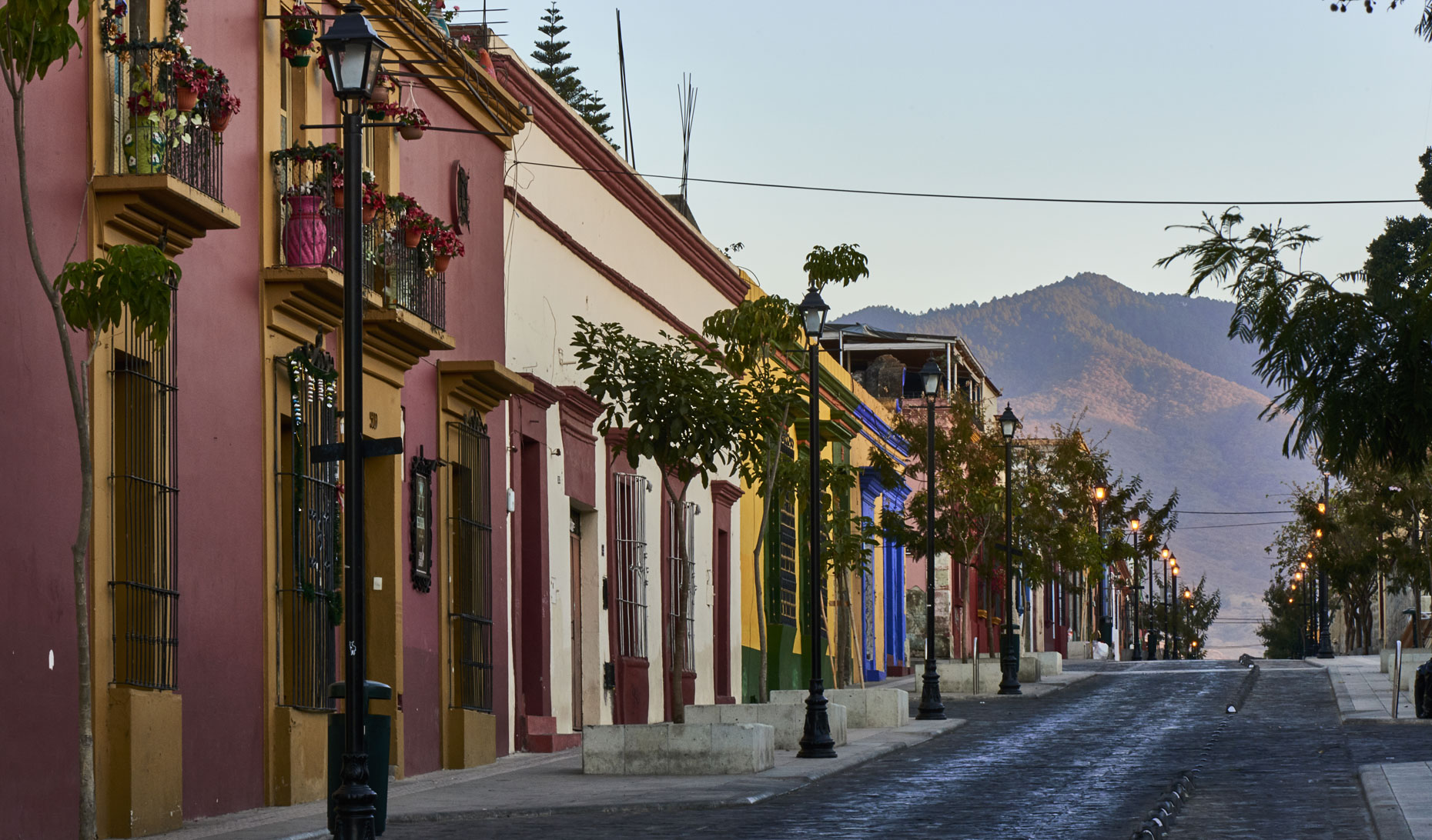Early-morning-empty-street-view-of-Oaxaca