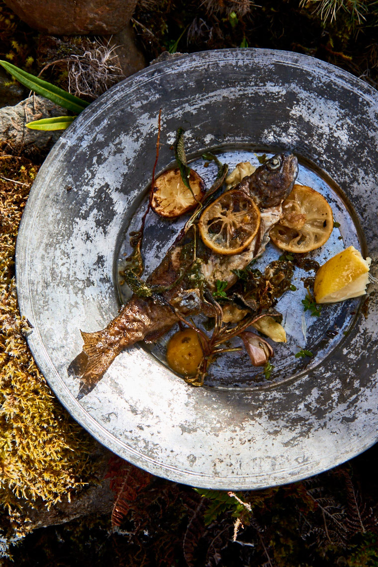 Fresh-grilled-trout-with-citrus-garlic-and-foraged-herbs-