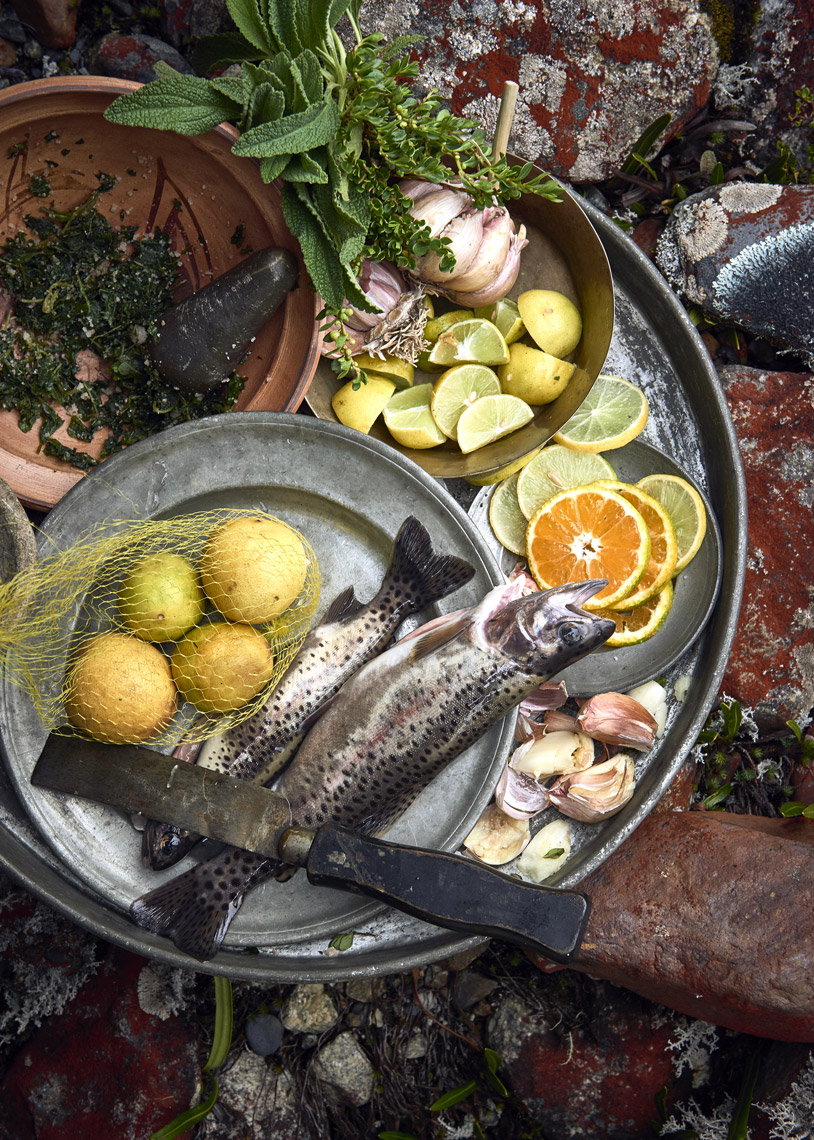 Fresh-river-trout-with-citrus-garlic-and-foraged-herbs-on-rocks