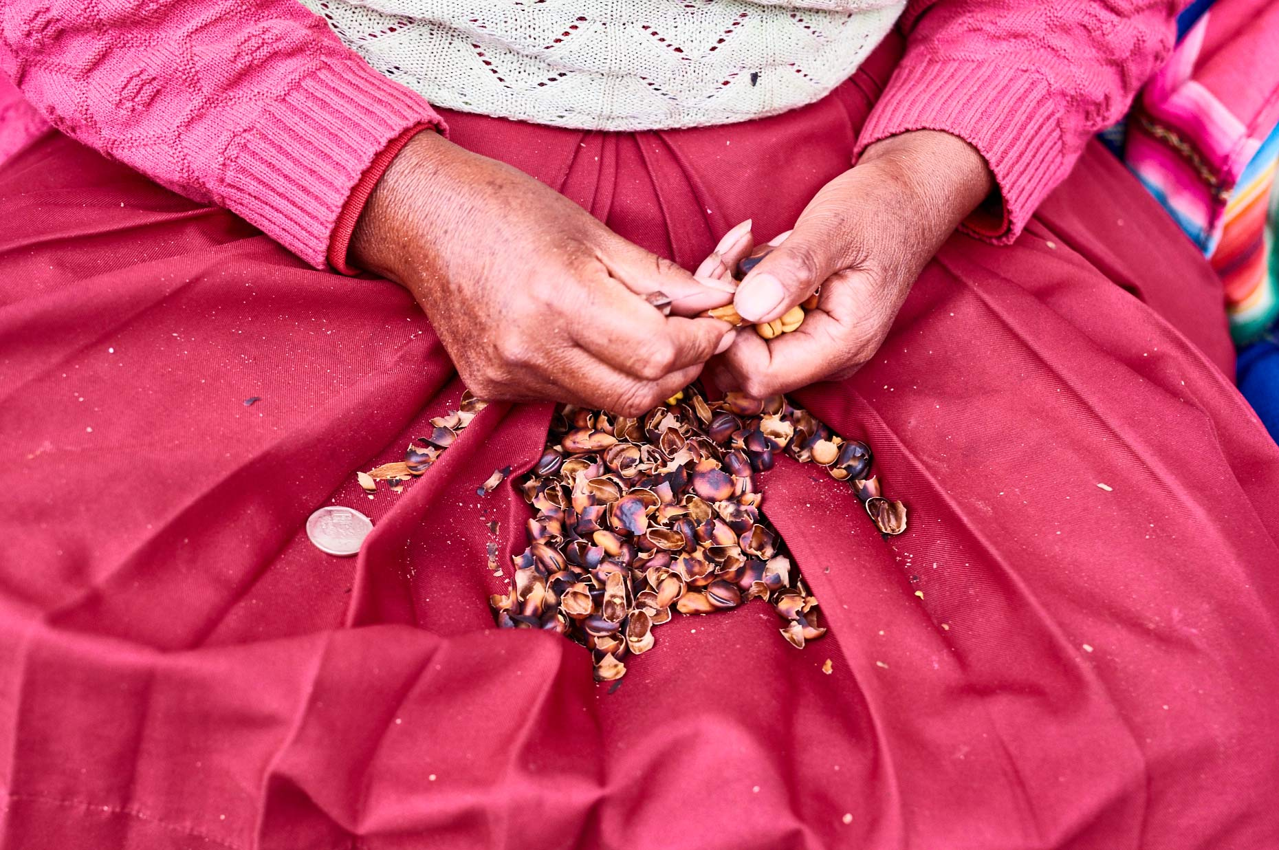 Peruvian-woman-in-colorful-red-dress-opening-nuts-in-shells